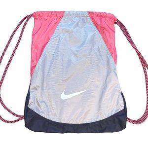 Nike Pink and Gray Athletic Drawstring Backpack